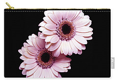 Two Gerberas On Black Carry-all Pouch