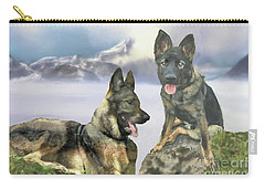 Carry-all Pouch featuring the photograph Two German Shepherds by Janette Boyd and John Noyes