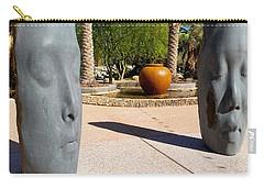 Carry-all Pouch featuring the photograph Two Heads Are Better Than One - Palm Desert Sculpture Gardens by Brooks Garten Hauschild