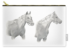 Carry-all Pouch featuring the drawing Two Horse Study by Elizabeth Lock