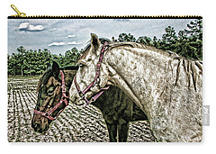 Two Horses In A Field Carry-all Pouch