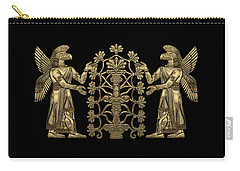 Two Instances Of Gold God Ninurta With Tree Of Life Over Black Canvas Carry-all Pouch