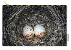 Carry-all Pouch featuring the photograph Two Junco Eggs In The Nest by William Lee