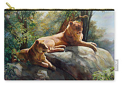 Two Lions - Forever And Always Together Carry-all Pouch by Svitozar Nenyuk