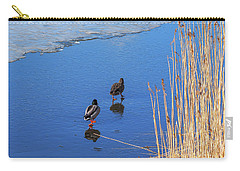 Two Mallards On Ice Carry-all Pouch