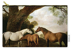 Two Mares And A Foal Carry-all Pouch by George Stubbs