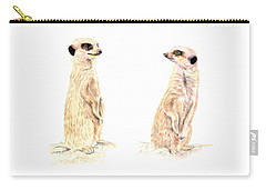 Carry-all Pouch featuring the mixed media Two Meerkats by Elizabeth Lock