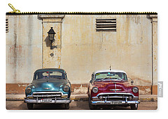 Carry-all Pouch featuring the photograph Two Old Vintage Chevys Havana Cuba by Charles Harden