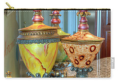 Two Ornate Colorful Vases Or Urns Art Prints Carry-all Pouch