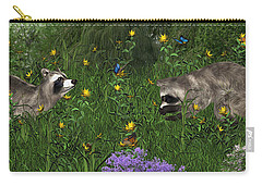 Two Raccoons  With Butterflys Carry-all Pouch by Walter Colvin