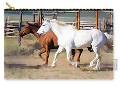Two Ranch Horses Galloping Into The Corrals Carry-all Pouch