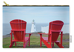 Two Red Adirondack Chairs Looking Out To A Lighthouse Carry-all Pouch