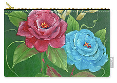 Carry-all Pouch featuring the painting Two Roses Red And Blue by Jimmie Bartlett