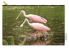 Two Spoonbills In Pond Carry-all Pouch by Carol Groenen