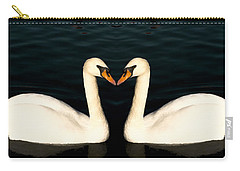 Two Symmetrical White Love Swans Carry-all Pouch