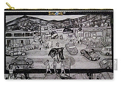 Carry-all Pouch featuring the drawing Two Troubles - Only One God - Sierra Leone by Mudiama Kammoh