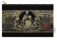 Carry-all Pouch featuring the photograph Two U.s. Dollar Bill - 1896 Educational Series In Gold On Black  by Serge Averbukh