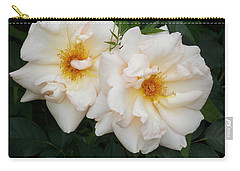 Two White Flowers Carry-all Pouch by Catherine Gagne