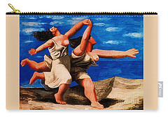 Two Women Running On The Beach Carry-all Pouch