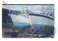 Carry-all Pouch featuring the painting Two Yachts Receiving Maintenance In A Yard by Martin Davey