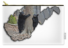 Two Young Black Bear Standing By Tree Carry-all Pouch