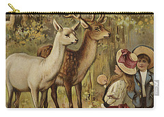Two Young Children Feeding The Deer In A Park Carry-all Pouch