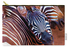 Carry-all Pouch featuring the mixed media Two Zebras Playing With Each Other by OLena Art Brand