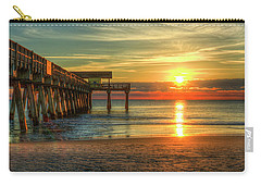 Carry-all Pouch featuring the photograph Tybee Pier Panorama Sunrise Art by Reid Callaway