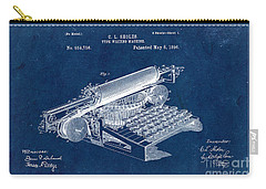 Type Writing Machine Patent From 1896 - Blue Carry-all Pouch