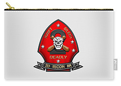 U S M C  2nd Reconnaissance Battalion -  2nd Recon Bn Insignia Over White Leather Carry-all Pouch