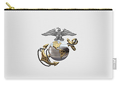 U S M C Eagle Globe And Anchor - C O And Warrant Officer E G A Over White Leather Carry-all Pouch