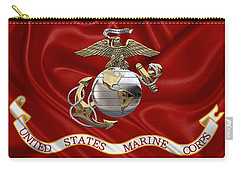 U. S.  Marine Corps - U S M C Eagle Globe And Anchor Over Corps Flag Carry-all Pouch