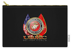 U. S. Marine Corps U S M C Emblem On Black Carry-all Pouch