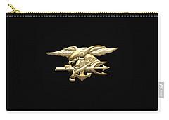U. S. Navy S E A Ls Emblem On Black Velvet Carry-all Pouch
