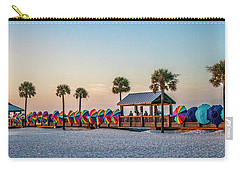 Carry-all Pouch featuring the photograph Umbrella Windbreaks At Clearwater Florida. by Brian Tarr