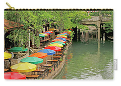 Carry-all Pouch featuring the photograph Umbrellas Along River Walk - San Antonio by Art Block Collections