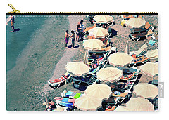 Carry-all Pouch featuring the photograph Umbrellas On The Beach - Nerja by Mary Machare