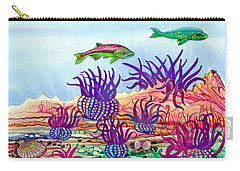 Carry-all Pouch featuring the painting Undaunted Urchins by Adria Trail