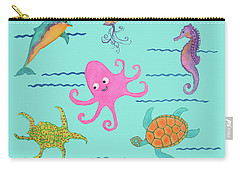 Under The Sea, Pink Octopus Carry-all Pouch