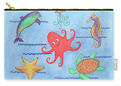 Under The Sea, Red Octopus Carry-all Pouch