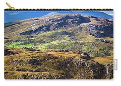 Carry-all Pouch featuring the photograph Undulating Green, Purple And Yellow Rocky Landscape In  Ireland by Semmick Photo