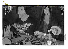 Unexpected Company - Black And White Fantasy Art Carry-all Pouch
