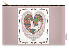 Carry-all Pouch featuring the digital art Unicorn In A Pink Heart by Lise Winne