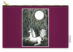 Carry-all Pouch featuring the drawing Unicorn In Moonlight by Lise Winne