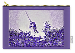 Carry-all Pouch featuring the digital art Unicorn In Purple by Lise Winne
