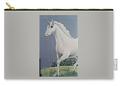 Unicorn Roaming The Grass And Flowers Carry-all Pouch