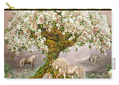 Carry-all Pouch featuring the mixed media Unicorn Rose Tree by Carol Cavalaris