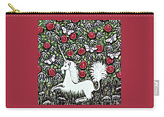 Unicorn With Red Roses And Butterflies Carry-all Pouch