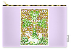Carry-all Pouch featuring the drawing Unicorn With Shamrock by Lise Winne