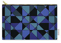 Carry-all Pouch featuring the digital art Unique Bold Hip Blue Cyan Grey Black Geometric Pattern by Shelley Neff